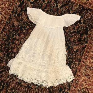 Off the shoulder boho white lace dress